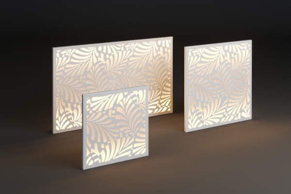 Garden light panel with leaf pattern