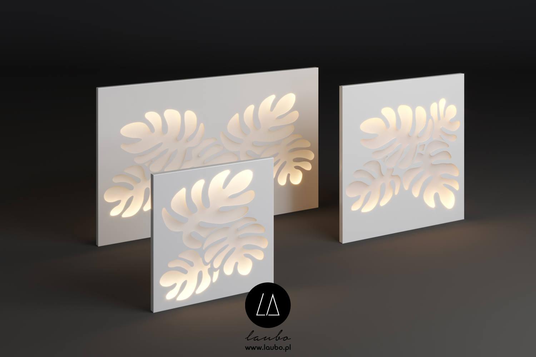 Backlit outdoor decorative screen Monstera