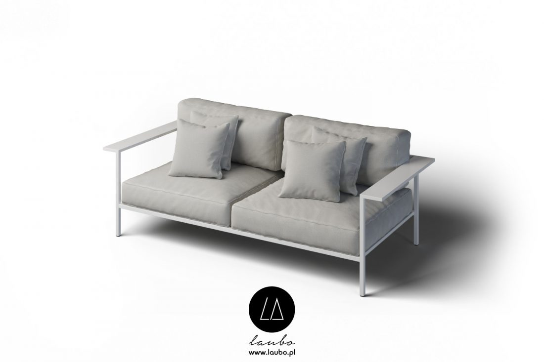 Comfortable 2-seater garden sofa with armrests