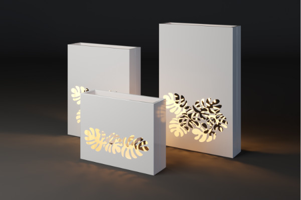Modern illuminated plant pots with a floral pattern
