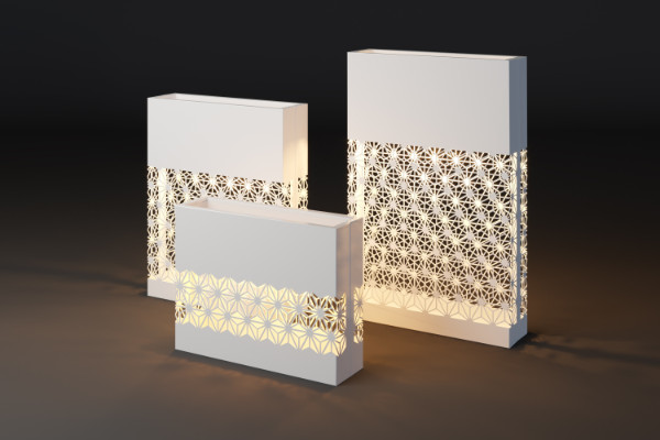 Modern plant pots with a geometric pattern with light
