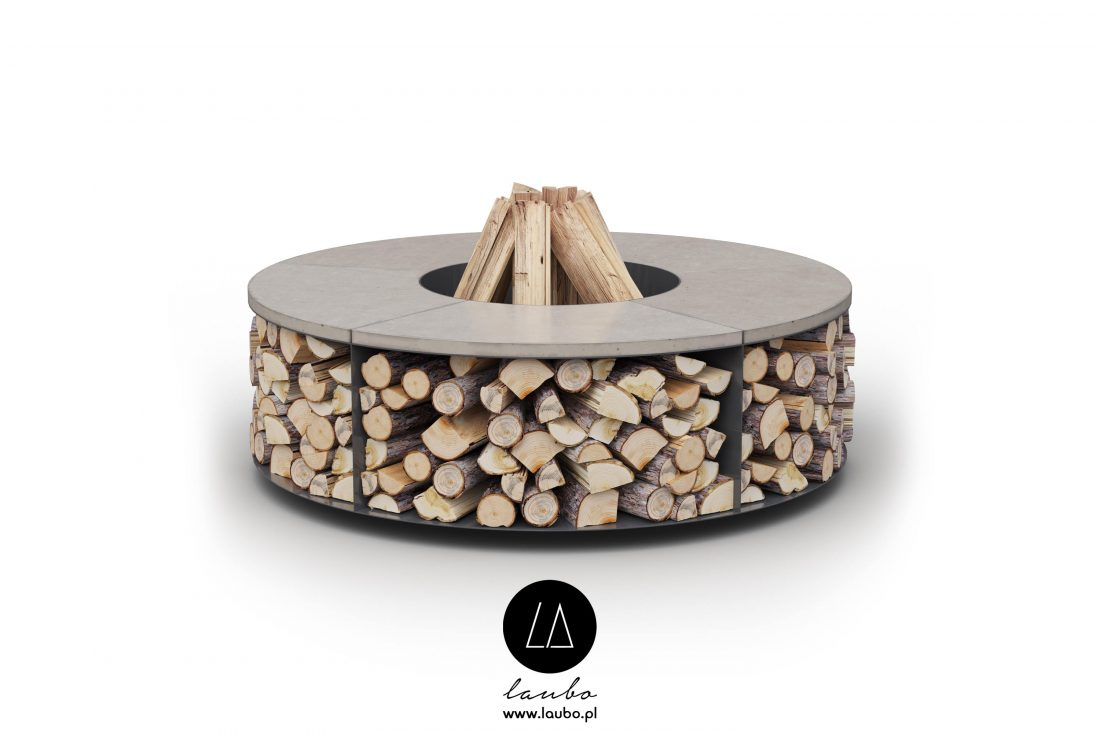 Contemporary round garden firepit or fireplace