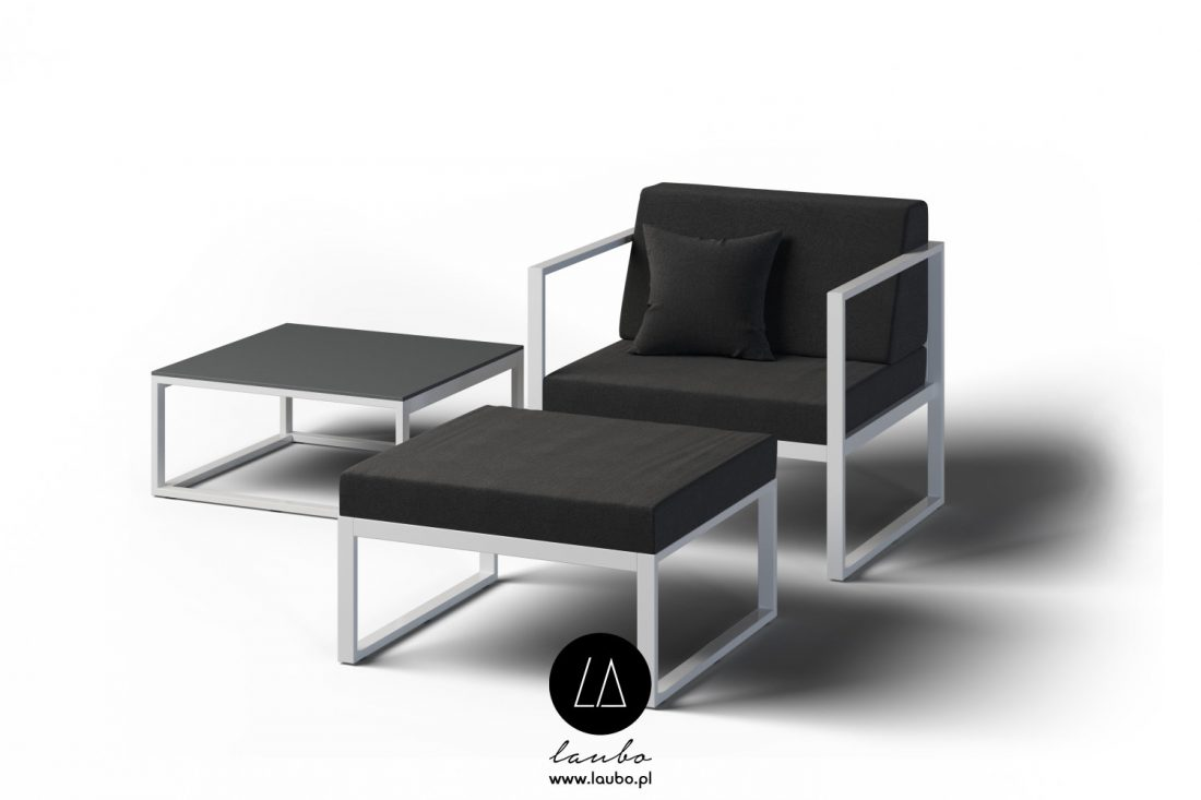Contemporary armchair with footrest outdoor garden
