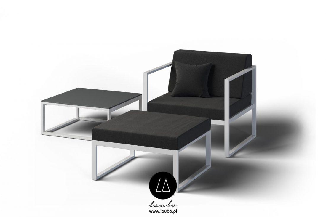 Minimalistic armchair footstool footrest outdoor garden