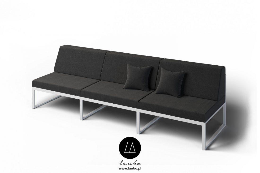Elegant simple 3-seater outdoor sofa
