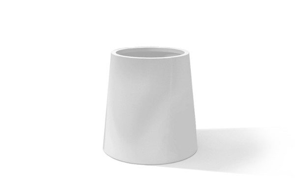 Round frostresistant rostproof white plant pot