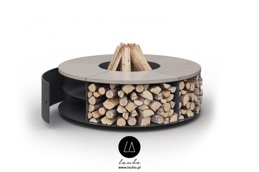 Okrągłe miejsce na ognisko ze schowkiem