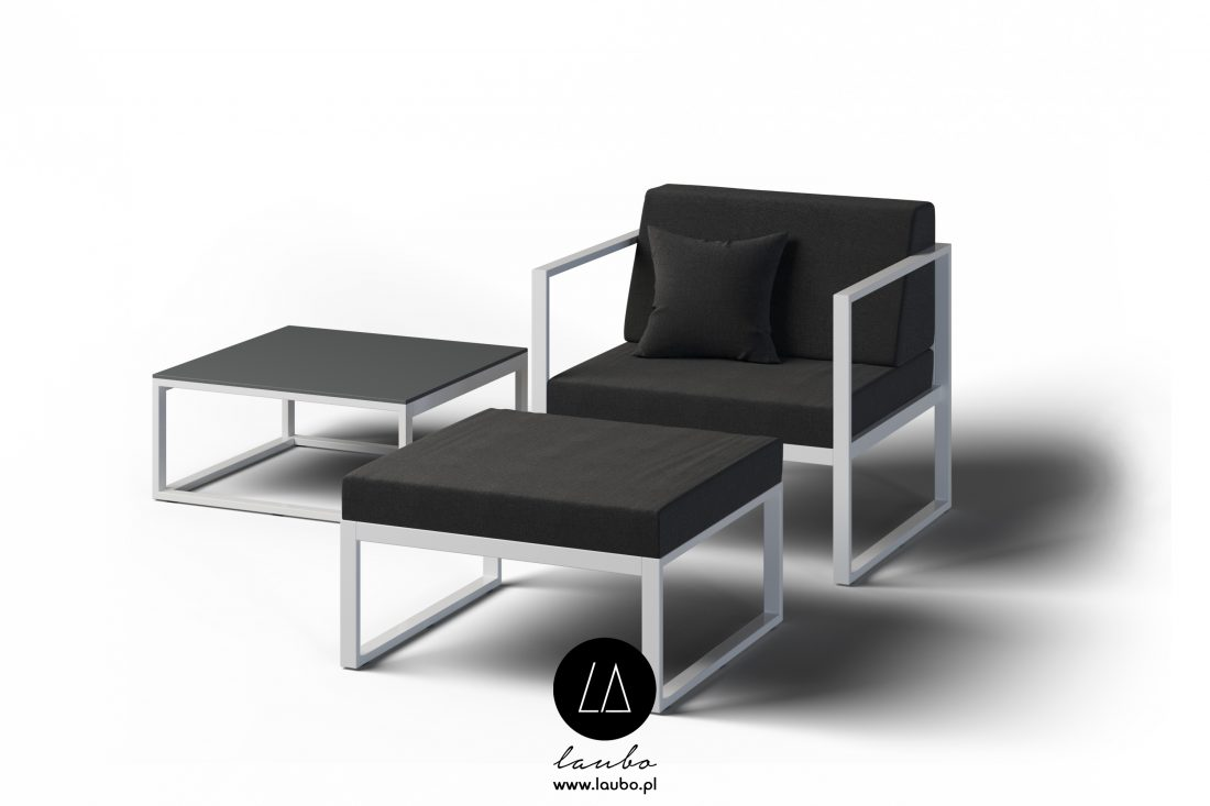 Elegancki fotel zewnętrzny z podnóżkiem