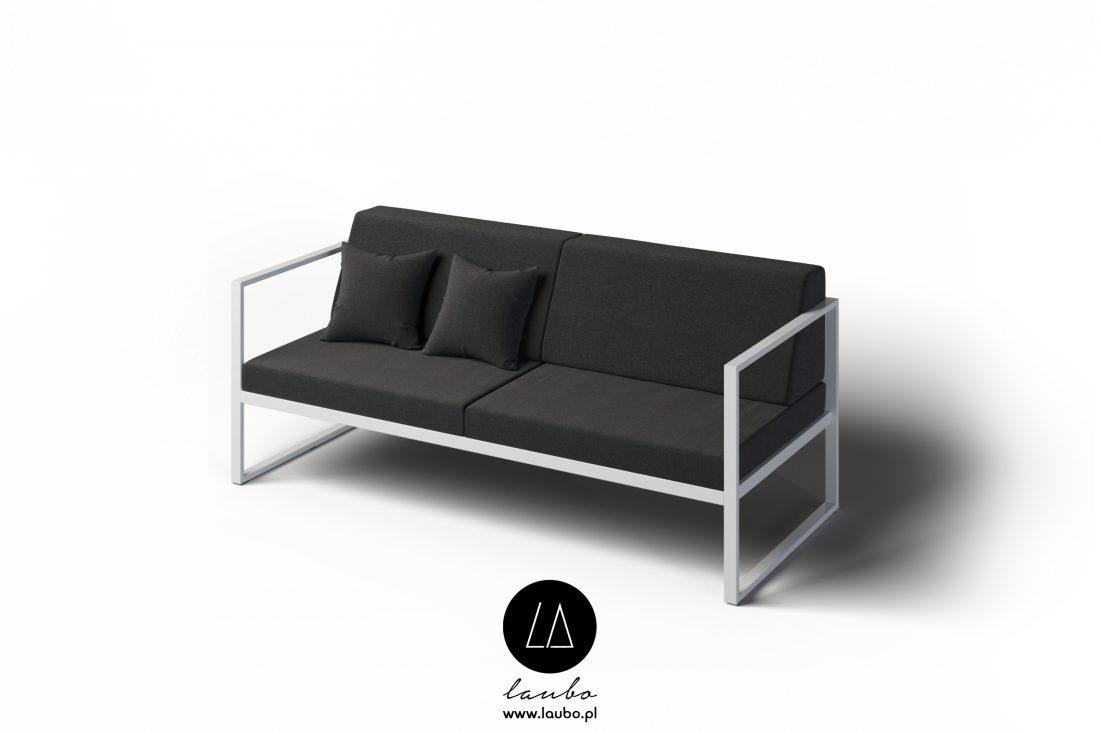 Minimalistyczna sofa ogrodowa 2-osobowa z podłokietnikami Formal