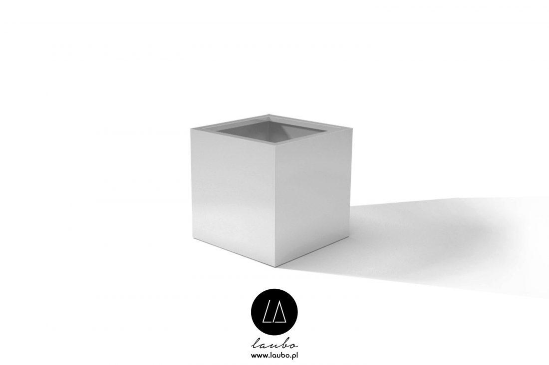Nowoczesna biała donica Fibra Cube